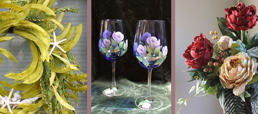 Silk flower arrangements painted wine glasses silk flowers bucks county silk arrangements hand painted glasses mightylinksfo